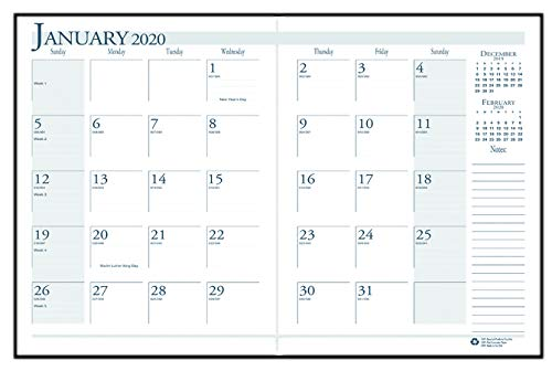 House of Doolittle 2020 Economy Calendar Planner, Monthly, Black Cover, 7 x 10 Inches, December - January (HOD260602-20) ()