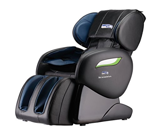 Zero Gravity Full Body Electric Shiatsu UL Approved Massage Chair Recliner with Built-in Heat Therapy and Foot Roller Air Massage System Stretch Vibrating for Home Office (Seattle Seahawks)
