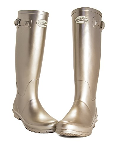 Guarantee Winning Award Women's Rubber 12 Free Delivery Month Champagne Metallic Finish Rockfish Natural Boots amp; Wellies 7wHTd