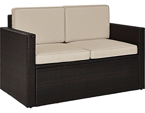 (Crosley Furniture KO70092BR-SA Palm Harbor Outdoor Wicker Loveseat with Sand Cushions, Brown)