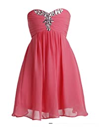 Fashion Plaza Girl's Ruched Sweetheart Rhinestone Strapless Party Dress K0091