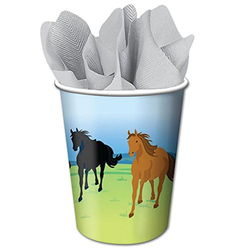 Creative Converting Wild Horses 8 Count Paper Cups, 9-Ounce
