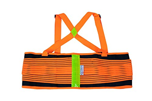 (SAFE HANDLER Lifting Support Weight Belt - Orange & Black Reflective| Lower Back Brace Protects & Relieves Back Pain, Stable Support Belt with Dual Adjustable Straps and Breathable Mesh Panels, MEDIUM)