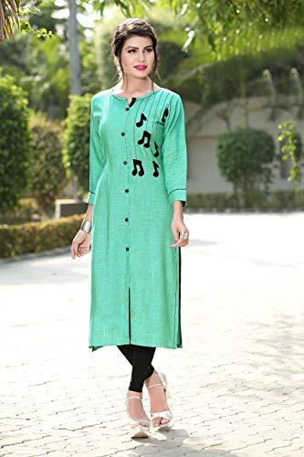 Da Facioun Indian Women Designer Partywear Ethnic Traditonal Readymade Kurti. Da Facioun Femmes Indiennes Concepteur Partywear Ethniques Traditionelles Kurti. Readymade Spring Green 3 Vert De Ressort 3