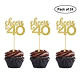24PCS Cheers to 40 Cupcake Toppers 40th Birthday Cake Toppers 40 Themed Party Decoration Supplies