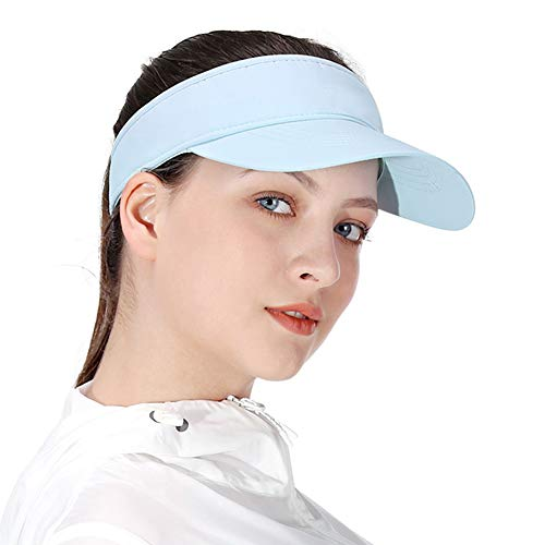 Blue Sun Visors for Women and Girls, Long Brim Thicker Sweatband Adjustable Hats Caps for Cycling Fishing Tennis Running Jogging and Other Sports