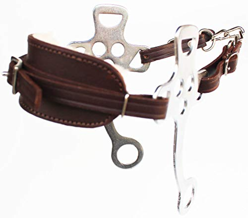 Horse Brown Leather Hackamore English Western Bridle Bit Bitless Tack 35H56