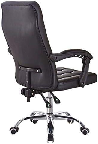 GUOOK Chaises Faux Cuir Ordinateur Chaise de Bureau Tabouret Ascenseur Réglable Chaise de Bureau à Domicile Chaise à roulettes Pivotantes à 360 °