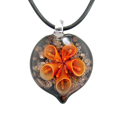 Orange Murano Pendant Glass (Orange Murano-style Glass Flower Heart Pendant Rubber Cord Necklace, 16