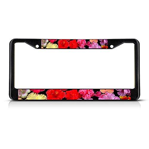 Hibiscus Flowers Black Metal License Plate Frame Tag Holder Perfect for Men Women Car garadge Decor ()
