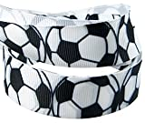 "HipGirl 5yd 7/8"" Soccer Grosgrain Ribbon--White/Black--E015"