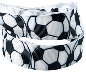 Ribbon Spool Holder (HipGirl Soccer Ribbon Sports Ribbon, 5yd 7/8 Soccer Grosgrain Ribbon for High School College Sport Team, Cheerleader Hair Bows Steamer Pony Holders-Black and White)