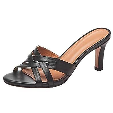 Zanpa Women Fashion Summer Shoes Open Toe Stiletto Heels Slide Sandals Slip on Party Dress Shoes Sweet Bow Black Size 34