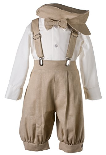 - Boys Tan Linen Knicker Outfit for Baby and Toddlers (3 Toddler, Tan & Ivory)