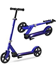 ENKEEO Kick Scooter, Big Wheel Stunt Scooter Faltbare Kickboard Roller 200mm mit intelligentes Bremssystem und Höhenverstellbarem Griff bis 80kg Kapazität für Kinder und Erwachsene