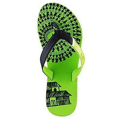Desimotifs Flip Flops For Women, Green(PGB0517)
