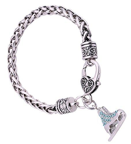Lemegeton 3D Adorable Crystal Ice Skate Charm Wheat Chain Bracelet for Girls Women Gift Jewelry