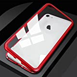 Ocamo - Carcasa magnética de metal para iPhone 7 y 8 Plus (cristal templado), Red Frame (Transparent Back Cover), iPhone7p/8p