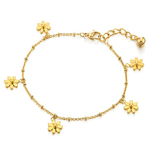 COOLSTEELANDBEYOND Stainless Steel Gold Color Anklet Bracelet with Dangling Charms of Flower and Ball ()
