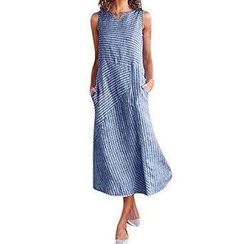 Vestido Informal de Rayas para Mujer, Vestido Largo de Lino de ...