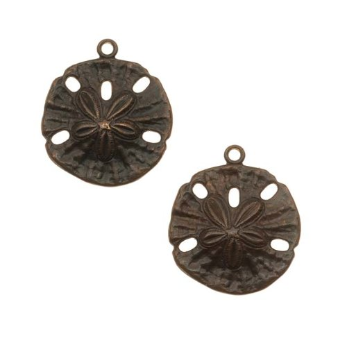 Vintaj Natural Brass Ocean Sand Dollar Charms 18mm (2)