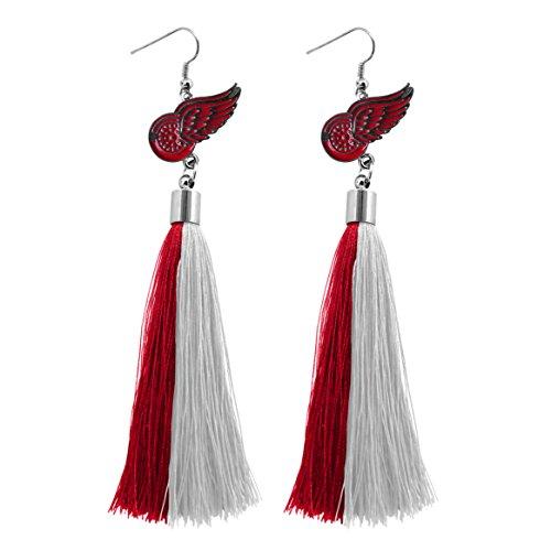 NHL Detroit Red Wings Tassel Earrings