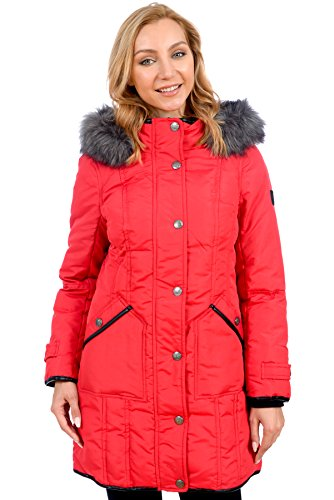 RedX Canada Women's Parka Winter Coat with Faux Fur Lined Hood (Red, (Metropolis Down Parka)
