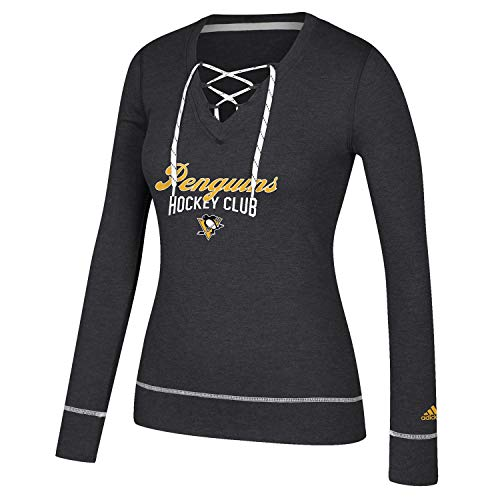 adidas Women's Pittsburgh Penguins Long Sleeve Skate Lace Top (Small)