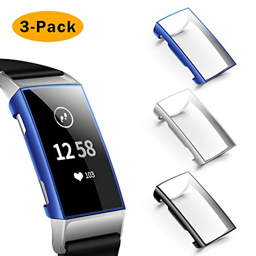 NANW Screen Protector Compatible with Fitbit Charge 3, 3 Pack Soft Slim Full-Around Protective Charge 3 Case Cover Bumper Compatible with Charge 3 & Charge 3 SE Smartwatch