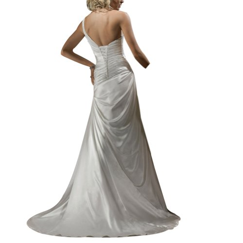 Weiß BRIDE Eine GEORGE Elegante einfache Hochzeitskleider Satin Schulter Brautkleider Zug Gericht q41vTa1