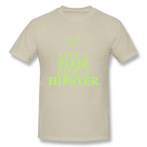 SNOWANG Men's Save A Fixie Ride A Hipster T-shirt XL