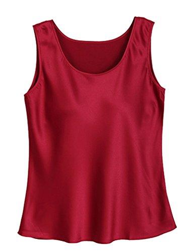(Fashion Silk Women's Blouse Silk Tank Tops Large Wine Red)
