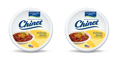 Chinet Classic White Microwavable Plastic Bowls, 18 Count (Pack of 2) - Chinet White Plastic Plate