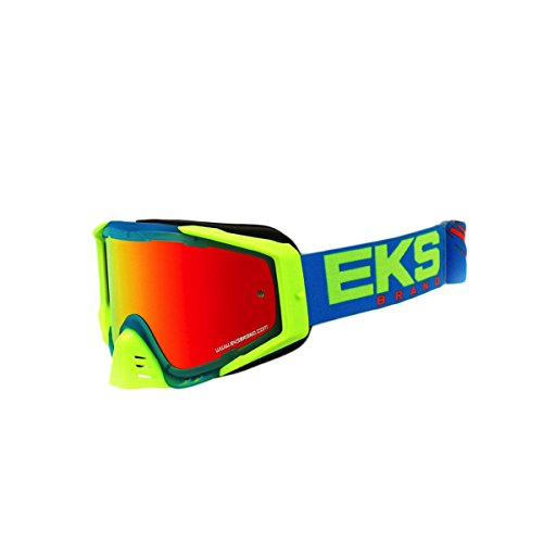 (EKS Brand EKS-S Outrigger Adult Dirt Bike Motorcycle Goggles Eyewear - Cyan/Flo Yellow/Flo Orange One Size Fits All)