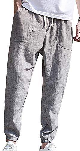Fit Slim En Pantalon Men Leisure Long Vintage Gris Lin 1Sg4xwqA