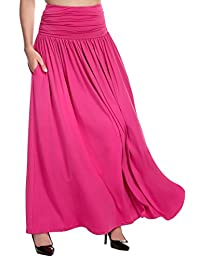 Meaneor Womens High Waist Maxi Skirts with Pockets
