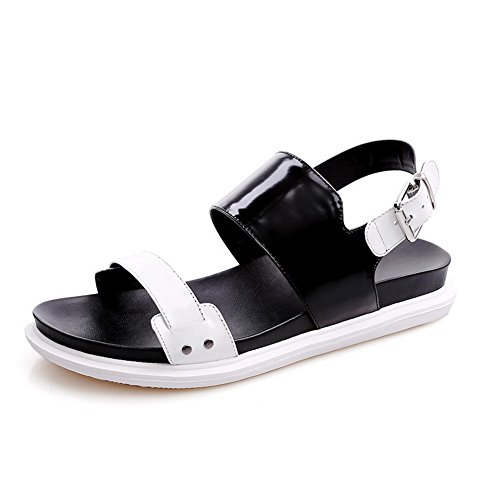 AmoonyFashion Womens Low Heels Solid Buckle Open Toe Sandals Black
