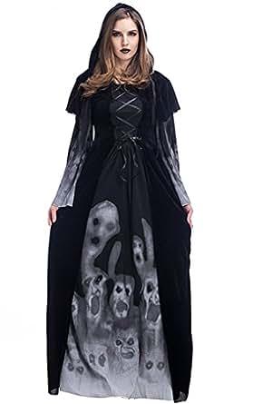 Honeystore Women's Skull Print Witch Hooded Robe Costume Halloween Black S