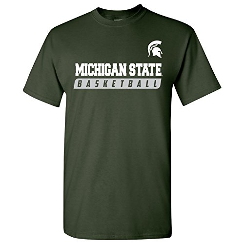 AS35 - Michigan State Spartans Basketball Slant T-Shirt - Small - Forest