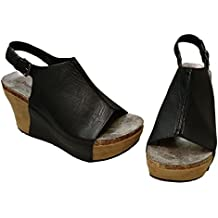 Pierre Dumas Women's Hester-14 Faux Leather Fashion Slingback Wedge Sandals
