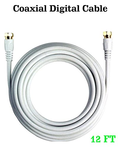Rg59 Gold Plated - RG59 Gold Plated Coaxial Cable - 12ft Digital Cable with F-Male Connectors for Satellite TV VCR Video - White (12FT)