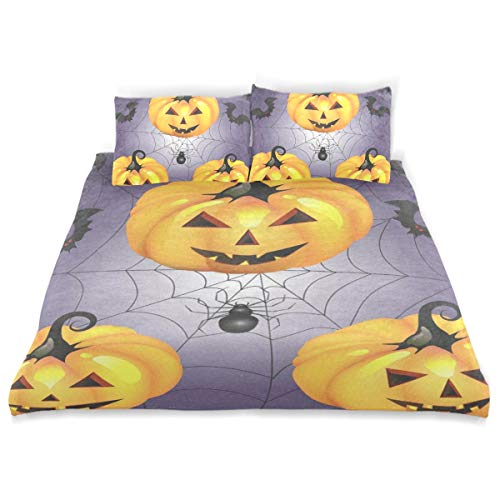 OSBLI Bedding Duvet Cover Set 3 Pieces Halloween Pumpkin with Spider Bed Sheets Sets and 2 Pillowcase for Teens