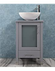 """QIERAO 20"""" Bathroom Vanity with Sink Combo Stand Cabinet and White Ceramic Vessel Sink and Stainless Steel Faucet, Grey"""