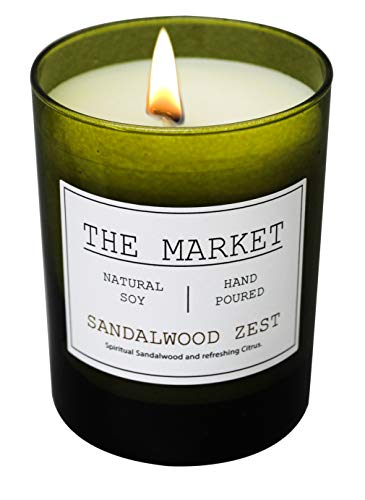 Sandalwood Scented Candle - Scentsational THE MARKET Revitalizing Aromatherapy Essential Oil Scented Soy Candle (Sandalwood Zest)