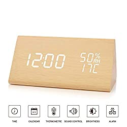 BlaCOG Wooden Alarm Clock,Digital Alarm Clock Large Time Display,Wooden LED Desk Clock with Date/Temperature/Humidity,Smart Voice-Activated Clock with 3 Alarm Groups for Bedroom/Kids-Bamboo/White