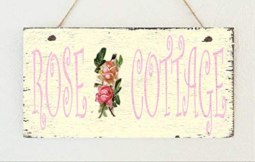 PotteLove Shabby Pink Rose Cottage Hanging Sign Plaque Chic Distressed Rustic Wood Wall Art Home Family Decoration Design Plank Plaque Sign 4