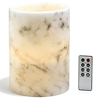 Marble Flameless Pillar Candles, Warm White LEDs, Black & White Wax Blend, Remote and Batteries Included