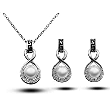 Fashion Jewelry Sets 18K White Gold Plated Freshwater Pearl Rhinestone Pendant Necklace and Earrings