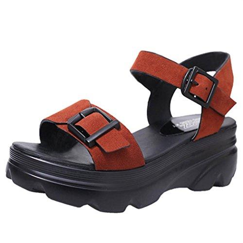 Transer® Damen Plattform Sandalen Monk-strap Blockabsatz PU-Leder+PU Dickes Einlegesohle Sandalen Rot