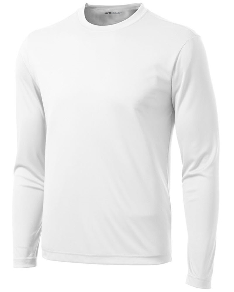 DRI-EQUIP Long Sleeve Moisture Wicking Athletic Shirts Mens, White, Medium